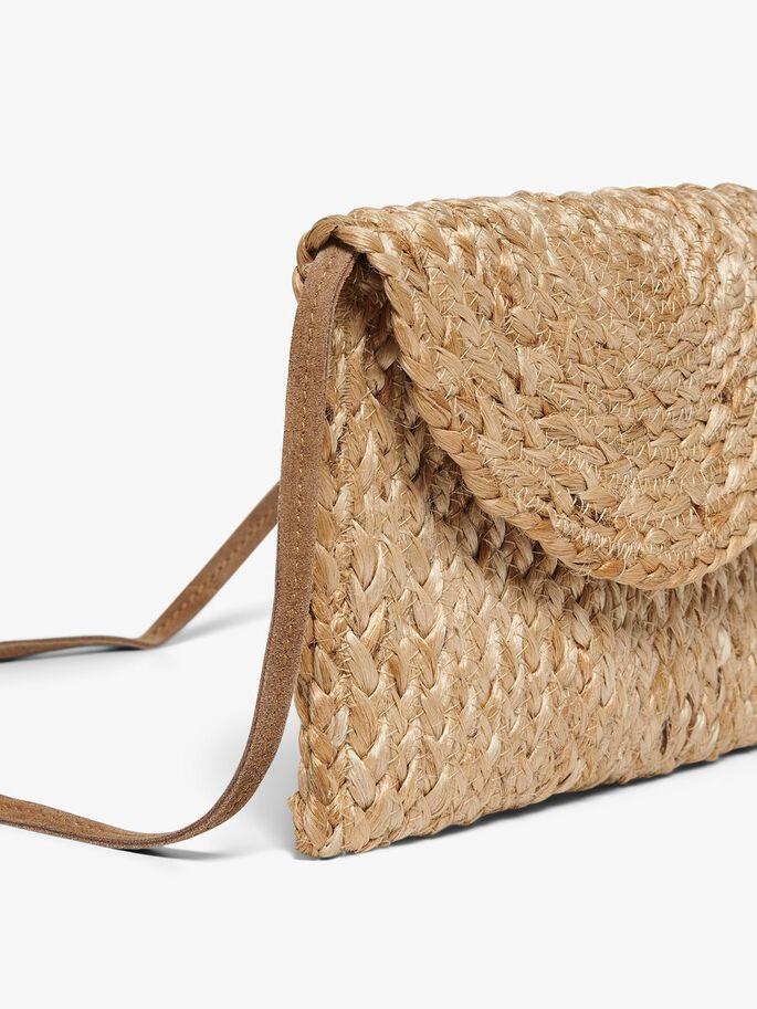 leather straw shoulder bag